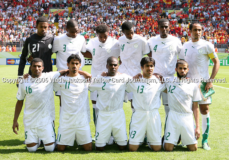 23 June 2006: Saudi Arabia's starters pose for a team photo. Front row (l to r): Khaled Aziz (KSA), Saad Al Harthi (KSA), Ahmed Dokhi (KSA), Hussein Sulimani (KSA), Abdulaziz Khathran (KSA). Back row (l to r): Mabrouk Zaid (KSA), Redha Tukar (KSA), Mohammed Noor (KSA), Saud Khariri (KSA), Hamad Al Montashari (KSA), Mohammed Noor (KSA). Saudi Arabia lost to Spain at Fritz-Walter Stadion in Kaiserslautern, Germany in match 47, a Group H first round game, of the 2006 FIFA World Cup.