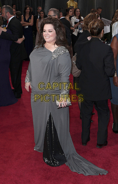 Melissa McCarthy.85th Annual Academy Awards held at the Dolby Theatre at Hollywood & Highland Center, Hollywood, California, USA..February 24th, 2013.oscars full length dress grey gray embellished jewel encrusted beads beaded clutch bag   .CAP/ADM/SLP/COL.©Colin/StarlitePics/AdMedia/Capital Pictures