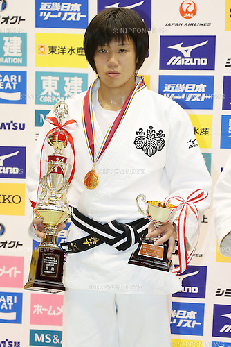 Mako Uchio,<br /> September 13, 2014 - Judo : <br /> All Japan Juior Judo Championships <br /> Women's -52kg Victory Ceremony<br /> at Saitama Kenritsu Budokan, Saitama, Japan. <br /> (Photo by Shingo Ito/AFLO SPORT) [1195]
