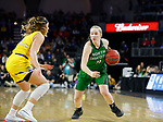 SIOUX FALLS, SD - MARCH 7: Kacie Borowicz #11 of the North Dakota Fighting Hawks drives toward the basket around Rylie Cascio Jensen #2 of the South Dakota State Jackrabbits at the 2020 Summit League Basketball Championship in Sioux Falls, SD. (Photo by Richard Carlson/Inertia)