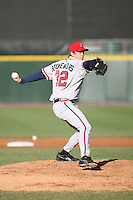April 15th 2008:  Pitcher Jon Rouwenhorst (32) of the Richmond Braves, Class-AAA affiliate of the Atlanta Braves, delivers a pitch during a game at Frontier Field in Rochester, NY.  Photo by:  Mike Janes/Four Seam Images