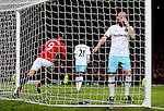 James Collins of West Ham United stands dejected as Zlatan Ibrahimovic of Manchester United turns to celebrate scoring during the Premier League match at the Old Trafford Stadium, Manchester. Picture date: November 27th, 2016. Pic Simon Bellis/Sportimage