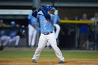 Jesus Atencio (31) of the Burlington Royals at bat against the Johnson City Cardinals at Burlington Athletic Stadium on September 3, 2019 in Burlington, North Carolina. The Cardinals defeated the Royals 7-2 to even Appalachian League Championship series at one game a piece. (Brian Westerholt/Four Seam Images)