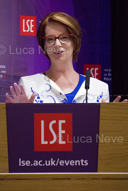 London, 23/06/2015. Today, the LSE (London School of Economics and Political Studies) presented a public conversation - part of the Institute of Public Affairs - called &quot;Above the Parapet: Women in Public Life&quot; hosted by Julia Gillard (Former Australian politician who served as the 27th Prime Minister of Australia, and the Australian Labor Party leader from 2010 to 2013; she was the first woman to hold either position. Gillard is graduated from the University of Melbourne as a Bachelor of Arts and a Bachelor of Laws in 1986 and then she joined the law firm Slater &amp; Gordon, specialising in industrial law. Gillard was first elected to the House of Representatives in 1998 federal election for the seat of Lalor. Then, she was elected to the Shadow Cabinet and was given the portfolio of Population and Immigration. In 2003, she took on responsibility for both Reconciliation and Indigenous Affairs and Health. Gillard became the first female Deputy Prime Minister of Australia upon Labor's victory in the 2007 federal election, also serving as Minister for Education, Minister for Employment and Workplace Relations and Minister for Social Inclusion. In 2010, Gillard was elected as the Leader of the Labor Party, thus becoming the 27th Prime Minister of Australia. She is the author of the book: &quot;My Story&quot;). Chairs of the event were Dr Purna Sen (Deputy Director of the Institute of Public Affairs at the LSE) and Dame Tessa Jowell DBE (Professor of Practice for LSE Cities and the Department of Government at LSE and a British Labour Party politician, former MP for Dulwich and West Norwood. Former member of both the Blair and Brown Cabinets. Currently one of a shortlist of six candidates seeking to become the Labour Party's official candidate in the 2016 election for Mayor of London).<br />
