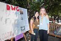 April Khowong and Gillian Matthes, Downtown Women's Center.<br /> 2018 InternLA student participants share their poster presentations about their summer experiences working as interns in Los Angeles. Summer Experience Expo, Sept. 13, 2018 in the Academic Quad. Hosted by Career Services.<br /> (Photo by Marc Campos, Occidental College Photographer)