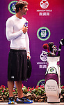 HAIKOU, CHINA - OCTOBER 30:  Multiple Olympic gold medalist Michael Phelps of USA attends a promotional event during day four of the Mission Hills Start Trophy tournament at Mission Hills Resort on October 30, 2010 in Haikou, China. The Mission Hills Star Trophy is Asia's leading leisure liflestyle event and features Hollywood celebrities and international golf stars. Photo by Victor Fraile / The Power of Sport Images