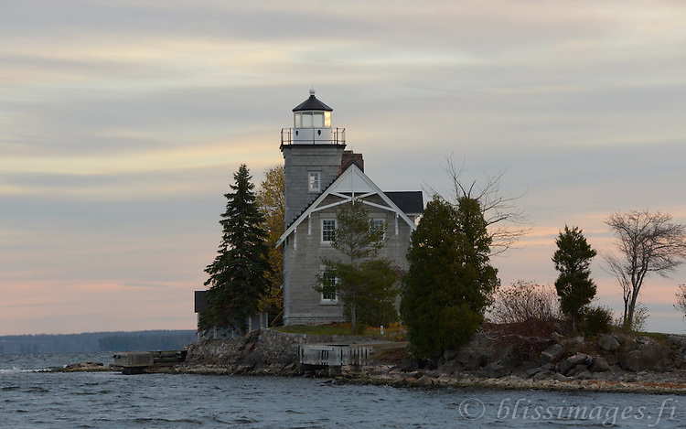 Approaching Sisters Island Lighthouse from the SE at sunrise.