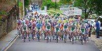peloton up a category 1 climb in Wormeldange-Haut with Team Sojasun preventing over enthusiastic climbers from getting away (by blocking/pacing the complete front line)<br /> <br /> 2013 Skoda Tour de Luxembourg<br /> stage 1: Luxembourg - Hautcharage (184km)