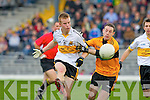 Crokes Fionn Fitzgerald clears from Stacks Michael Collins during the quarter final dual in Fitzgerald Stadium on Sunday