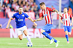 Fernando Torres (r) of Atletico de Madrid competes for the ball with Danny Drinkwater (l) of Leicester City during their 2016-17 UEFA Champions League Quarter-Finals 1st leg match between Atletico de Madrid and Leicester City at the Estadio Vicente Calderon on 12 April 2017 in Madrid, Spain. Photo by Diego Gonzalez Souto / Power Sport Images