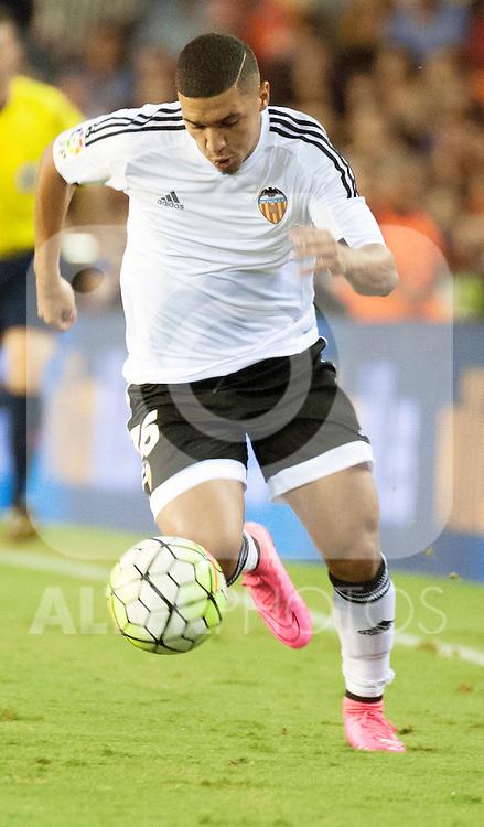 Valencia's Bakkali during La Liga match.September, 25. 2015. (ALTERPHOTOS/Javier Comos)