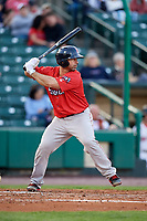 Pawtucket Red Sox catcher Dan Butler (12) at bat during a game against the Rochester Red Wings on May 19, 2018 at Frontier Field in Rochester, New York.  Rochester defeated Pawtucket 2-1.  (Mike Janes/Four Seam Images)