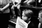 March 11, 2016. Raleigh, North Carolina.<br />  Sam Bowers of Hillsborough, age 11, took the day off of school to come see Bernie Sanders in person.<br />  Democratic presidential candidate Bernie Sanders held a rally at Raleigh's Memorial Auditorium days before the North Carolina primary. Although behind in the polls to Hillary Clinton, thousands of supporters showed up for the rally with hundreds forced to wait outside.