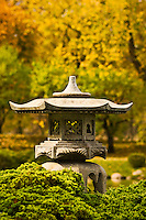 Lantern at the Japanese garden at Normandale Community College in Bloomington, Minnesota. The garden was designed by Takao Watanabe, a professional garden architect from Tokyo, Japan and dedicated in 1976. Normandale Community College is part of the Minnesota State Colleges and Universities System.