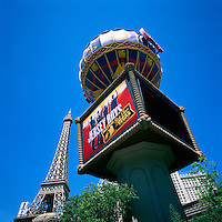 Las Vegas, Nevada, USA - Paris Las Vegas Hotel & Casino along The Strip (Las Vegas Boulevard) - Eiffel Tower & Montgolfier Balloon Replicas