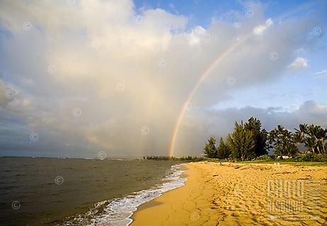 Rainbow over Waialua Beach, North Shore of Oahu