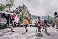 Viacheslav Kuznetsov (RUS/Katusha-Alpecin), Michael Mørkøv (DEN/Quick-Step Floors) & Marco Marcato (ITA/UAE-Emirates) up the final climb to Pratonevoso<br /> <br /> stage 18: Abbiategrasso - Pratonevoso (196km)<br /> 101th Giro d'Italia 2018