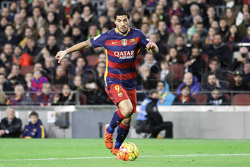 30.12.2015. Nou Camp, Barcelona, Spain. La Liga. Barcelona versus Real Betis. Suarez in action during the match