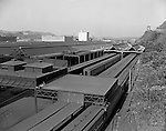 Pittsburgh PA - View of the Pennsylvania Railroad yard in Pittsburgh with the Strip District in the background - 1959.