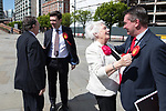 © Joel Goodman - 07973 332324 . 05/05/2017 . Manchester , UK . ANDY BURNHAM arrives with campaign manager KEVIN LEE and are greeted by Burnham's parents EILEEN and ROY . The count for council and Metro Mayor elections in Greater Manchester at the Manchester Central Convention Centre . Photo credit : Joel Goodman