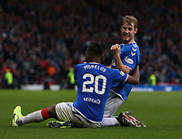 3rd November 2019; Hampden Park, Glasgow, Scotland; Scottish League Cup Football, Rangers versus Heart of Midlothian; Filip Helander of Rangers celebrates the opening goal with Alfredo Morelos after making it 1-0 in the 45th minute of the first half - Editorial Use