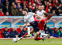 Bolton Wanderers' Will Buckley competing with Nottingham Forest's Matty Cash <br /> <br /> Photographer Andrew Kearns/CameraSport<br /> <br /> The EFL Sky Bet Championship - Nottingham Forest v Bolton Wanderers - Sunday 5th May 2019 - The City Ground - Nottingham<br /> <br /> World Copyright © 2019 CameraSport. All rights reserved. 43 Linden Ave. Countesthorpe. Leicester. England. LE8 5PG - Tel: +44 (0) 116 277 4147 - admin@camerasport.com - www.camerasport.com
