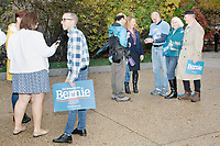 Supporters of Democratic presidential candidate and Vermont senator Bernie Sanders gather after the candidate spoke at a small rally outside the NH State House after he filed the required paperwork and paid the $1000 filing fee to be on the 2020 Democratic presidential ballot in the NH Secretary of State's Office in Concord, New Hampshire, on Thu., October 31, 2019. As part of the filing process, Sanders signed a ceremonial primary ballot that is signed by all candidates in the race. Sanders was accompanied during the process by his wife Jane O'Meara Sanders.
