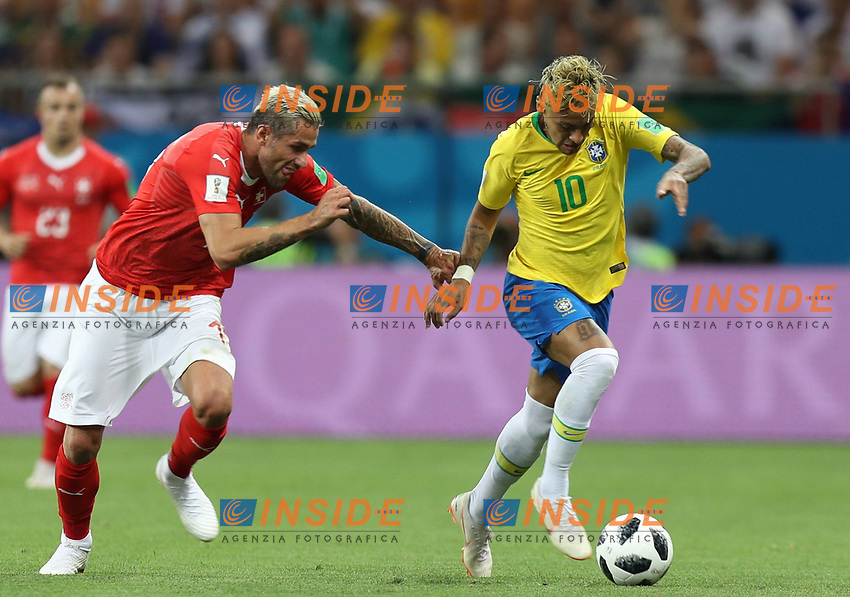 (180617) -- ROSTOV-ON-DON, June 17, 2018 -- Neymar (R) of Brazil competes during a group E match between Brazil and Switzerland at the 2018 FIFA World Cup WM Weltmeisterschaft Fussball in Rostov-on-Don, Russia, June 17, 2018. ) (SP)RUSSIA-ROSTOV-ON-DON-2018 WORLD CUP-GROUP E-BRAZIL VS SWITZERLAND LuxJinbo  <br /> Rostov on Don 17-06-2018 Football FIFA World Cup Russia  2018 <br /> Brazil - Switzerland / Brasile - Svizzera <br /> Foto Xinhua/Imago/Insidefoto
