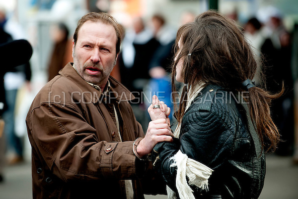 Flemish actors Sara Vertongen and Marc Van Eeghem on the set of Het Goddelijke Monster, directed by Hans Herbots (Belgium, 21/02/2010)