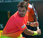 March 26 2016:  Andrey Kuznetsov (RUS) defeats Stanislas Wawrinka (SUI) by 6-4, 6-3, at the Miami Open being played at Crandon Park Tennis Center in Miami, Key Biscayne, Florida.