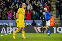 9th March 2020; King Power Stadium, Leicester, Midlands, England; English Premier League Football, Leicester City versus Aston Villa; Jamie Vardy of Leicester City celebrates as he scores from a penalty for 2-0 in the 63rd minute