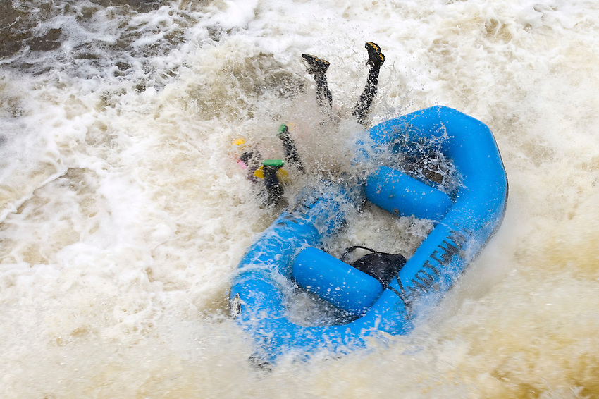 Whitewater rafters run Big Smokey Falls on the Wolf River near Langlade Wisconsin.