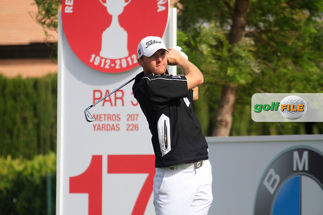 Michael Hoey (NIR) tees off on the par3 17th hole during Friday's Round 2 of the Open de Espana at Real Club de Golf de Sevilla, Seville, Spain, 4th May 2012 (Photo Eoin Clarke/www.golffile.ie)