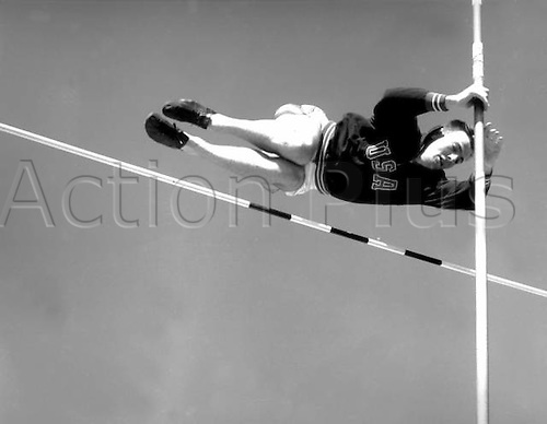 1952 Helsinki, Finland. Bob Mathias of the USA. Decathlon winner of the 1952 Olympics is photographed practising the pole vault at Helsinki.