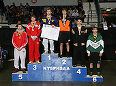 Brian Borst (1st - Duanesburg); Chris Conti (2nd - Fredonia); Sean Walton (3rd - Pal-Mac); Sean Hanson (4th - South Jefferson); Tim Banks (5th - Holley); and Kirk Harrington (6th - Hudson Falls) pose on the podium for the Division Two 119 weight class during the NY State Wrestling Championship finals at Blue Cross Arena on March 9, 2009 in Rochester, New York.  (Copyright Mike Janes Photography)