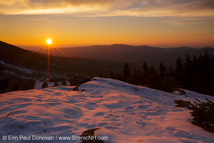Sunset from Bald Mountain in Franconia Notch State Park of the New Hampshire White Mountains USA.