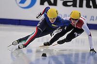 "SHORT TRACK: MOSCOW: Speed Skating Centre ""Krylatskoe"", 13-03-2015, ISU World Short Track Speed Skating Championships 2015, 500m Ladies, Ariana FONTANA (#031 | ITA), Evgeniya ZAKHAROVA (#058 | RUS), ©photo Martin de Jong"