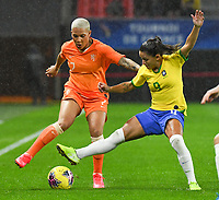 20200304 Valenciennes , France :  Dutch Shanice van de Sanden (7) and Brazilian Debinha (9) pictured during the female football game between the national teams of The Netherlands and Brasil on the first matchday of the Tournoi de France 2020 , a prestigious friendly womensoccer tournament in Northern France , on wednesday 4 th March 2020 in the Stade du Hainaut of Valenciennes , France . PHOTO SPORTPIX.BE | DIRK VUYLSTEKE