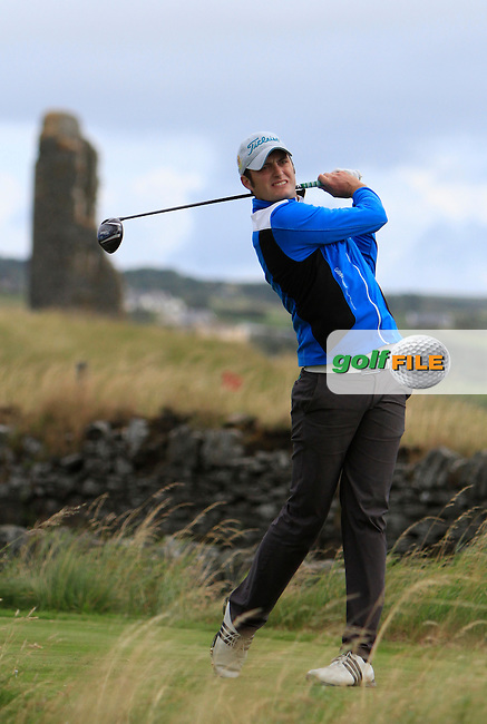 Shane McGlynn (Carton House) on the 17th tee during the South of Ireland Amateur Open Championship Third Round at Lahinch Golf Club  29th July 2013 <br /> Picture:  Thos Caffrey / www.golffile.ie