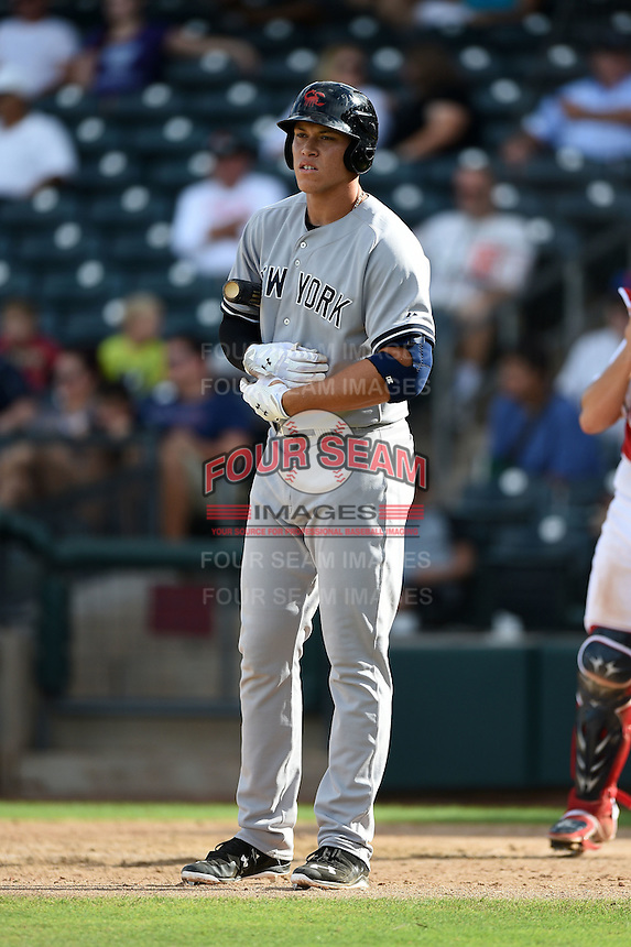 Scottsdale Scorpions outfielder Aaron Judge (47) during an Arizona Fall League game against the Peoria Javelinas on October 18, 2014 at Surprise Stadium in Surprise, Arizona.  Peoria defeated Scottsdale 4-3.  (Mike Janes/Four Seam Images)