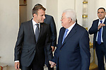 Palestinian President Mahmoud Abbas meets with French President Emmanuel Macron at the Elysee Palace in Paris, France, on September 21, 2018. Photo by Thaer Ganaim