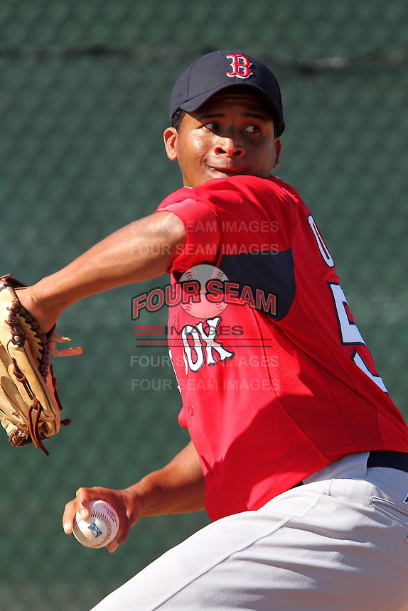 Boston Red Sox Yunior Ortega #57 during minor league spring training practice at the Red Sox Minor League Complex at JetBlue Park on March 26, 2012 in Fort Myers, Florida.  (Mike Janes/Four Seam Images)