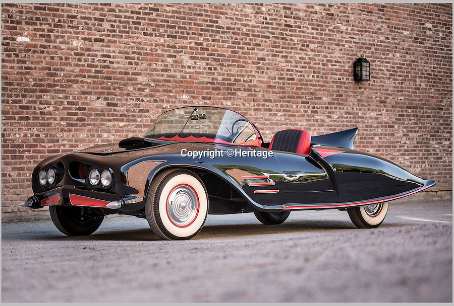 BNPS.co.uk (01202 558833)<br /> Pic: Heritage/BNPS<br /> <br /> ***Plase Use Full Byline***<br /> <br /> The original car.<br /> <br /> The world's first Batmobile has emerged for sale for a whopping £300,000 after being rescued from a field where it spent almost 50 years languishing.<br /> <br /> Batman's famous car was built more than 50 years ago from a 1956 Oldsmobile 88 that was converted to look just like the one from the comic books which made the Caped Crusader famous.<br /> <br /> It is a far cry from the Batmobile that appeared in Christopher Nolan's modern remakes of Batman.<br /> <br /> But as the first Batmobile ever built, experts at Dallas-based Heritage Auctions say it could sell for as much as $500,000 - more than £300,000.