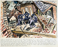 BNPS.co.uk (01202 558833)Pic: DominicWinter/BNPS<br /> <br /> The 'Heavy Rescue boys' work there way through a bombed out house floor by floor.<br /> <br /> Unseen harrowing drawings which vividly capture the horrors of the Blitz during World War Two have come to light 78 years later.<br /> <br /> Artist Ivor Beddoes began the war as an actor in the West End but quit to become a stretcher bearer as the German bombs rained down on London.<br /> <br /> He made sketches on the spot and then added watercolours later, documenting in graphic detail the devastation caused.<br /> <br /> Beddoes' drawings show bodies strewn on the blood soaked ground as the Luftwaffe did their worst. Others reveal frantic searches for survivors in the rubble of decimated buildings.<br /> <br /> The drawings have emerged for sale with auction house Dominic Winter, of Cirencester, Gloucs. They are expected to fetch £5,000.