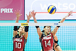 Setter Koyomi Tominaga (L) of Japan and Middle blocker Ayaka Matsumoto (R) of Japan blocks during the FIVB Volleyball World Grand Prix - Hong Kong 2017 match between Japan and Serbia on 22 July 2017, in Hong Kong, China. Photo by Yu Chun Christopher Wong / Power Sport Images