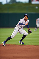 Northwest Arkansas Naturals second baseman Raul Mondesi (27) breaks on a shallow fly ball during a game against the Springfield Cardinals on April 26, 2016 at Hammons Field in Springfield, Missouri.  Northwest Arkansas defeated Springfield 5-2.  (Mike Janes/Four Seam Images)