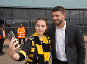 1st October 2017, Ricoh Arena, Coventry, England; Aviva Premiership rugby, Wasps versus Bath Rugby;  Wasps full-back Willie le Roux poses for a selfie with a supporter on his arrival at the Ricoh Stadium