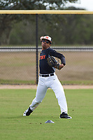William Merrix (4) of Tallahassee, Florida during the Baseball Factory All-America Pre-Season Rookie Tournament, powered by Under Armour, on January 13, 2018 at Lake Myrtle Sports Complex in Auburndale, Florida.  (Michael Johnson/Four Seam Images)