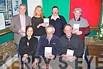 BOOK LAUNCH: Fr Mossie Brick (Lixnaw PP) who launched THEY PASSED ALONG OUR ROAD: by Gerald Byrne on Friday night at Columbas Comunity Hall, Kilflynn Front l-r: Fr Mossie Brick, Gerald Byrne and Bridget McAuliffe (publisher). Back l-r: Mike and Geraldine Parker, Mike Neenan and Sony Egan.