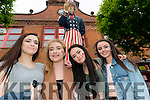 Lucy Barret, Leah Clarke, Liveta Kulivicte and Eimear Tangney (all from Killarney) enjoying Big Parade while Uncle Sam is watching!  Killarney 4th of July Celebrations. Photo by Marek Hajdasz www.mhphotos.ie
